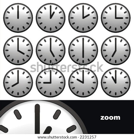 set of clocks showing different time - stock vector
