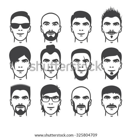 Excellent Eye Mustache Lips Hair Face Parts Stock Vector 173636252 Short Hairstyles Gunalazisus
