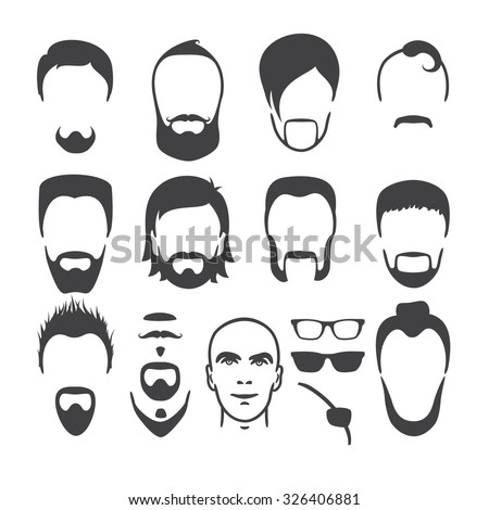 Set of close up different hair, beard and mustache style men portraits isolated vector illustrations - stock vector