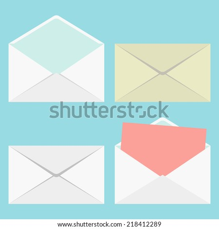 set of closed and open envelopes. concept of analysis correspondence, spam and personal communication. isolated on stylish background. flat style modern design vector illustration - stock vector