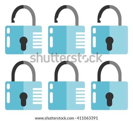 Set of closed and opened locks. Flat design. Isolated on white background - stock vector
