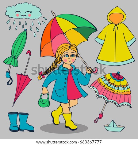 Set Clothes Accessories Rainy Weather Girl Stock Vector ...