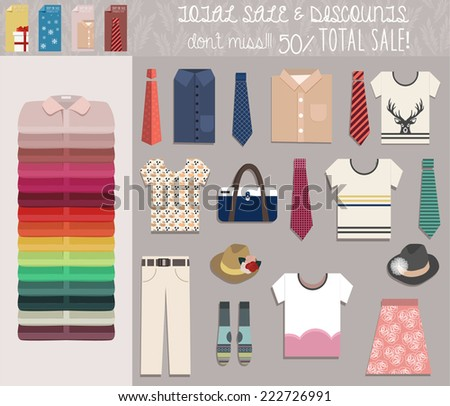 Set of clothes cards, and elements for price discount. T-shirts, shirts, pants, bag, hat and other wearable symbols for prints, banners, web and mobile apps. - stock vector