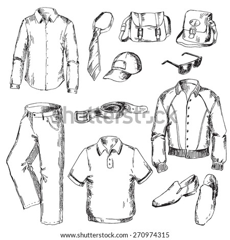 Set of clothes for men. Pen sketch converted to vectors. - stock vector