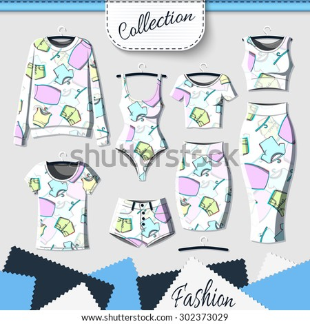 Set of clothes with stylish print and stereo effect. Clothing design. T-shirt. Clothes with prints. Template insulated clothing with prints. Vector - stock vector