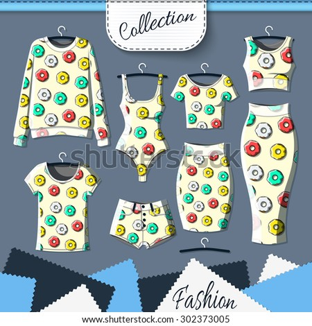 Set of clothes with stylish print of donuts. Clothing design. T-shirt. Clothes with prints. Template insulated clothing with prints. Vector - stock vector