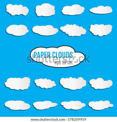 Set of cloud-shaped paper banners. Paper clouds set for your design. Paper clouds Vector. Paper clouds JPEG. Paper clouds Object. Paper clouds Picture.Paper clouds Image.  Vector illustration. - stock vector