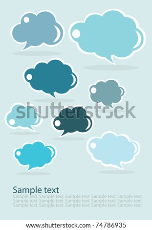 set of clouds, blue - stock vector
