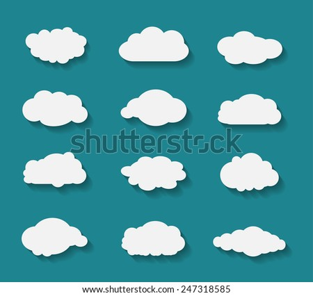 Set of clouds in flat design with flat shadows on blue background. Vector illustration. - stock vector