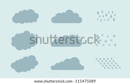 Set of clouds, rain, rain drops, vector illustration - stock vector