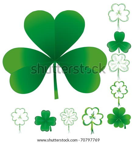 Set of clovers for St. Patrick`s day, vector illustration - stock vector