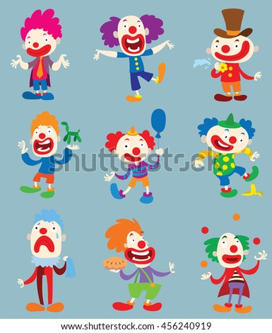 Set of clown character performing different fun activities vector cartoon illustrations. Clown character funny happy costume cartoon joker. Fun makeup and carnival smile hat nose clown character. - stock vector