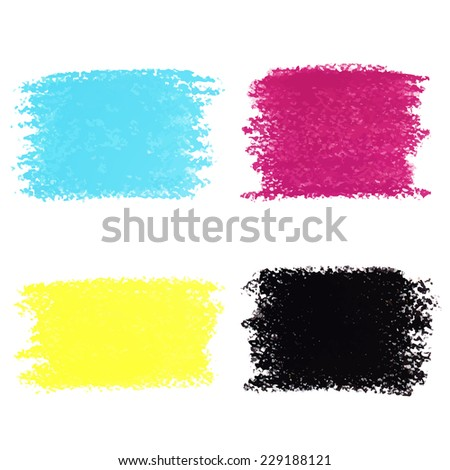 Set of CMYK pastel crayon spots, isolated on white background - stock vector