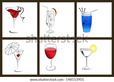 Set of cocktail glasses and wine glasses on white background - stock vector