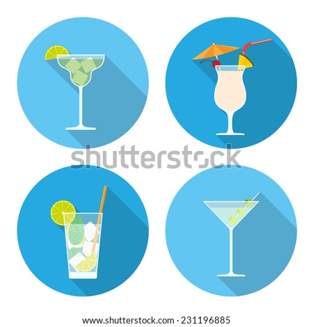 set of cocktails icons, flat style illustration - stock vector