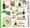 Set of coffee and tea labels - stock vector