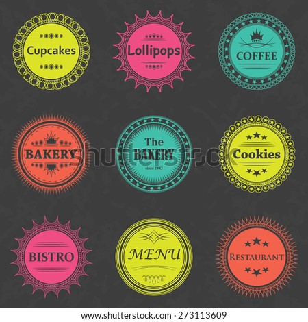 Set of coffee, bakery labels. Bright colors. Grunge background      - stock vector