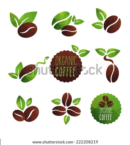 Set of coffee beans label designs organic various icons, green and brown coffee - stock vector