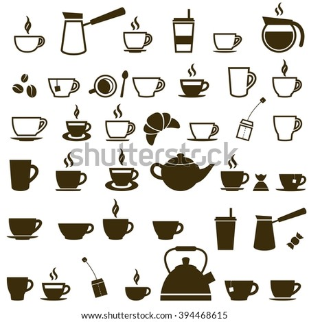 Set of Coffee cup and Tea cup icons - stock vector