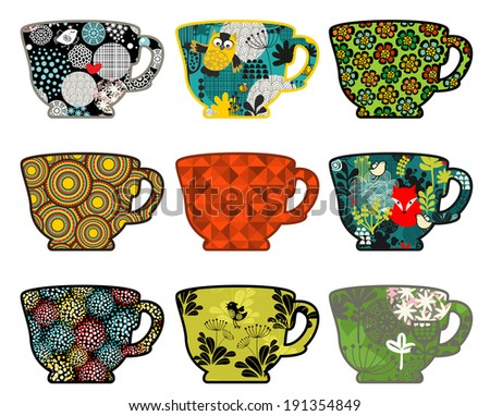 Set of coffee cups with nature prints. Vector illustration. - stock vector