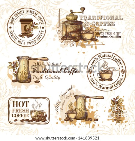 Set of coffee design elements - stock vector