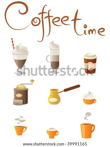 set of coffee design elements - stock vector