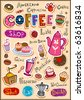 Set of coffee design elements and inscriptions - stock vector