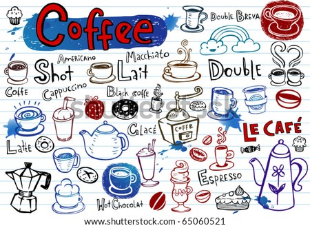 Set of Coffee doodles, vector illustration - stock vector