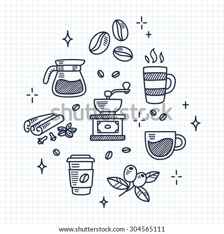 Set of coffee drawings on lined notebook paper. Hand drawn doodle style. - stock vector