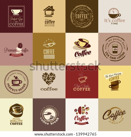Set of coffee icons - stock vector