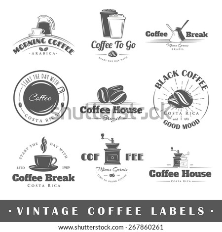 Set of coffee labels. Elements for design on the coffee theme. Collection of coffee symbols. Modern labels of coffee. Emblems and logos of coffee. Vector illustration - stock vector