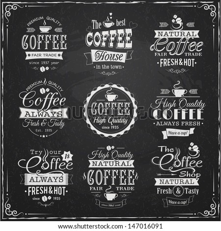 set of coffee labels on chalkboard eps10 vector illustration - stock vector