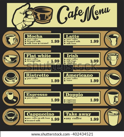 Set of coffee menu with a cups of coffee drinks illustration