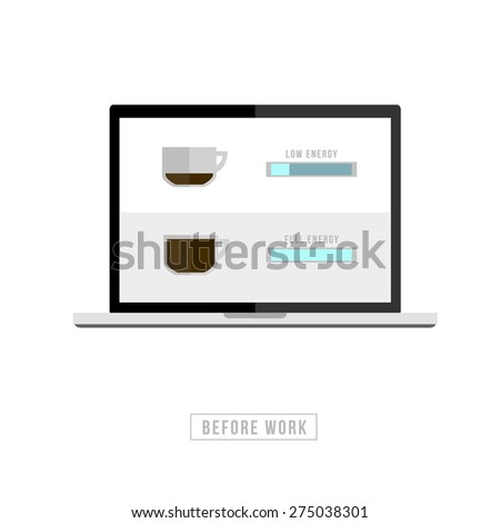 Set of coffee menu with a cups of coffee drinks in modern style