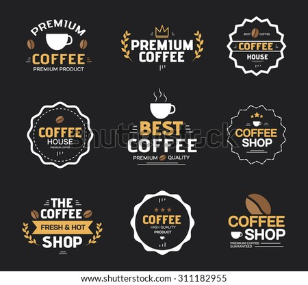 Set of Coffee Product , Guaranteed Labels and Badges Vector Design illustration
