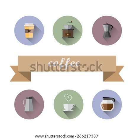 set of Coffee Shop flat icons - stock vector