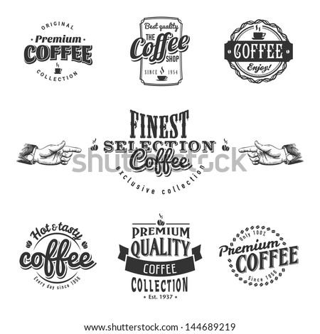 Set of coffee shop sketches and text symbols - stock vector