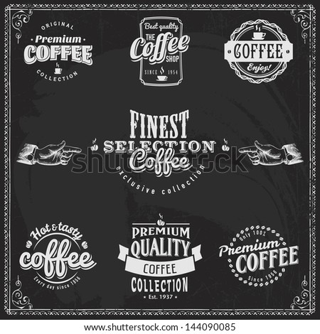 Set of coffee shop sketches and text symbols on a chalkboard - stock vector
