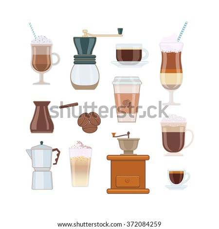 Set of Coffee Types and Coffee Accessories on White Background - stock vector
