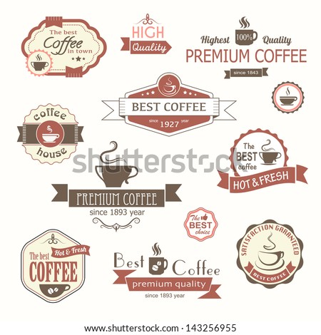 set of coffee vintage badges and labels eps8
