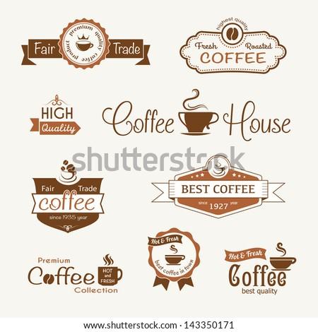 set of coffee vintage badges and labels eps8 - stock vector