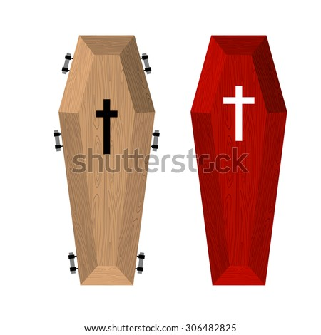 Set of coffins. Red beautiful expensive coffin and a wooden coffin. Vector illustration of accessories for death. - stock vector