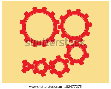 Set of cogs (gears) of different sizes - stock vector