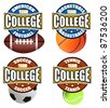 Set of college sport's labels on white, vector illustration - stock vector