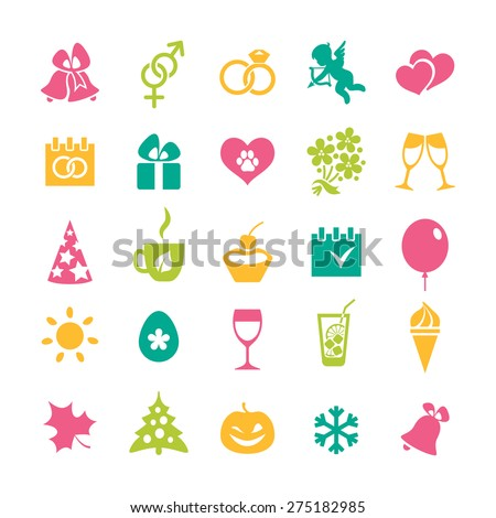 Set of 25 coloful icons and design elements for seasonal holidays, birthday and wedding - stock vector