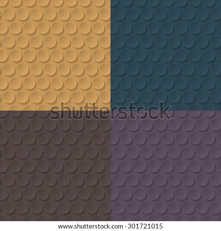 Set of color abstract geometric seamless patterns with circles and long shadow.Monochrome background or wallpaper.Vector illustration. - stock vector