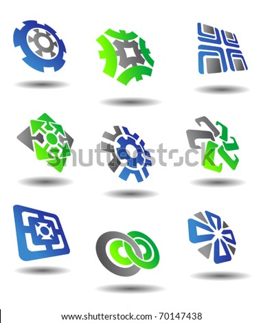 Set of color abstract symbols for design - also as emblem. Jpeg version also available in gallery - stock vector