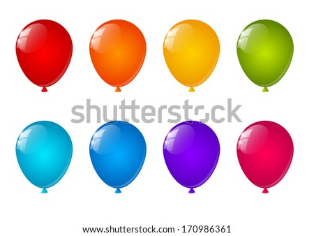 Set of color air balloons - stock vector