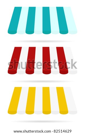 set of color awning from store front - stock vector