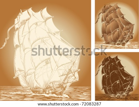 set of color backgrounds with old ship - stock vector